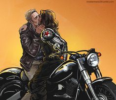 *Fans self*  Two things I love all in one pic: Boys on badass motorcycles and boys kissing on badass motorcycles.