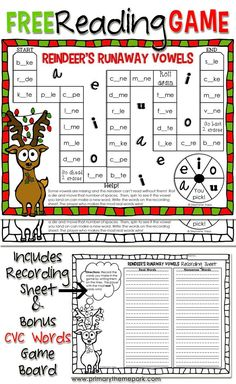 Printable Christmas Reading Game: & Runaway Vowels& A fun way to practice CVC and CVCe words and perfect for centers! Reading Games, Reading Activities, Teaching Reading, Reading Groups, Guided Reading, Christmas Worksheets, Christmas Games, Christmas Printables, Christmas Art