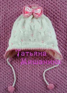 шапочка для новорожденной девочки вязаная спицами