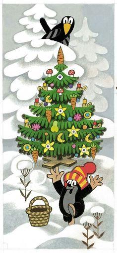Le petit Taupek et Noel - personnage celebre des films animés tcheques d´apres les illustrations de Zdenek Miler.
