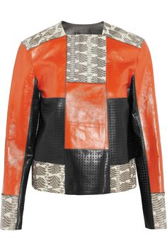 Proenza Schouler | Patchwork perforated leather and snake jacket
