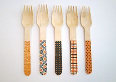 Halloween Party Chic Set: Biodegradable Eco Friendly Compostable Wooden Wood Spoons Knives Forks set of 30