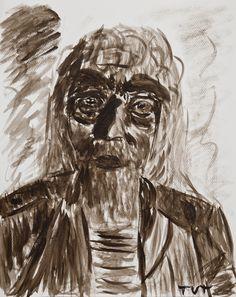 Wojciech Tut Chechliński, Gazda z brzegów, akwarela na płótnie, 51 x 40,5 cm, 2011 r, sygnowany (kat. 085)