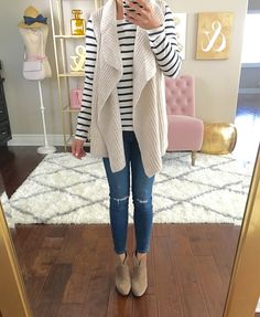 Cable knit sweater vest, striped shirt, petite distressed ankle jeans, franell ankle booties, fall outfit, casual outfit, fall fashion, petite outfits - click the photo for outfit details!