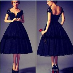 2016 Black Lace A line Deep V-Neck Evening Dresses Cap Sleeve Backless Fashion Short Prom Gowns Tea Length Special Occasion Dress