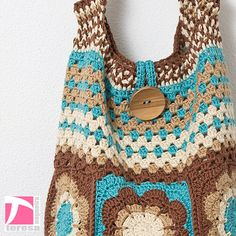 I Love crochet - Brown and blue flower and striped crochet shoulder bag - Refª 138 - Triangulinos e Companhia