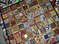 African Quilt made almost exclusively from imported African fabrics African Quilts, African Textiles, African Fabric, African Theme, African Art, African Attire, African Style, African Women, African Dress