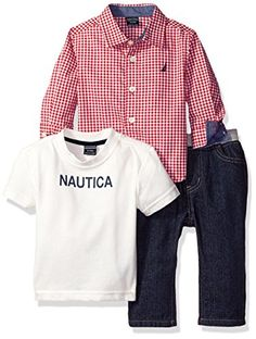 Nautica Boys Three Piece Set with Long Sleeve Check Woven Shirt Tee and Pant Red Rouge 03 Months *** Check this awesome product by going to the link at the image.