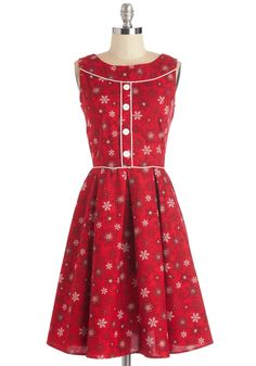 Among Fronds Dress in Snowflakes. Your BFFs new digs include a windowsill of plants that beautifully contrast this red dress! #red #modcloth