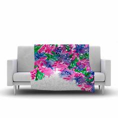 "Ebi Emporium ""Floral Cascade 1"" Pink Green Fleece Throw Blanket"