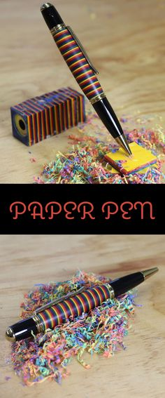 How to make a pen out of a stack of glued paper.