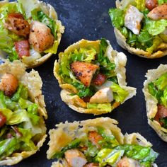 Caesar Salad Parmesan Cups - How cute are these! Perfect finger food for your next party. Grain Free, SCD.