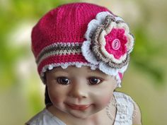 Knitted Children's hat  pink, cream,brown,white color flower, lovely warm cozy Children  2-6 years