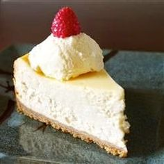 """Chantal's New York Cheesecake - It's great as is, but also a great foil for other flavours. I serve mine with passionfruit pulp or mango puree..Everyone that's tried it has said it tasted just like the ones in a deli! You'll love it!"""""""