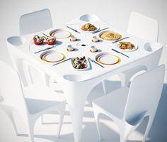 """Este conjunto de mesa e cadeiras permite o uso de papel ou de pratos e copos plásticos sem a chance deles """"voarem"""" por aí. Através de fendas simples na mesa, elas bloqueiam que o vento bata diretamente sobre os utensílios. No centro da mesa há um lugar escondido para guardar suas garrafas, enquanto as cadeiras têm um pequeno lugar na parte de trás para apoiar e guardar seus pertences. O conjunto é composto por uma mesa, quatro cadeiras e uma tampa com formas fluidas."""