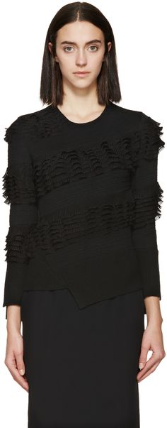 Alexander Mcqueen: Black Wool Ruffle Sweater   SSENSE