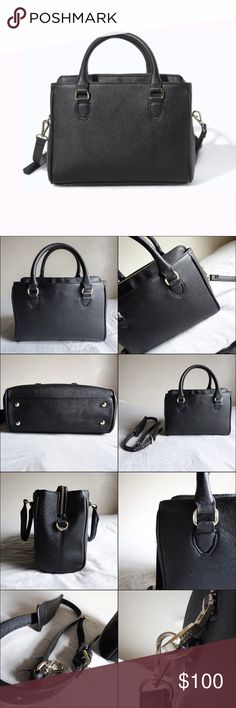 Zara Black Mini Office City Bag Brand: Zara Style: Mini Office City Bag Color: Black  This bag is in great condition. It has three compartments, two of which have a magnetic clasp closure with the middle having a zip closure. The middle compartment is well padded, and is intended to hold small electronics such as an iPad/iPad mini. Bag features five card holders, as well as a pouch for your smartphone. Comes with a detachable cross body strap making it extremely versatile.  This bag will…