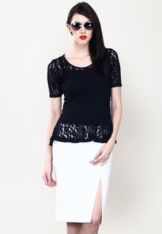 7229674f5a2 Faballey Short Sleeve Solid Black Top Women s A Line Dresses