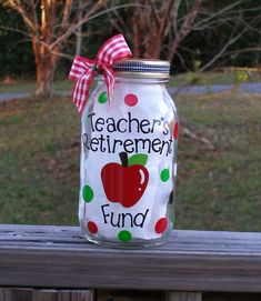 Teacher's Retirement Fund Coin Bank by BrieEllaMaes on Etsy Teacher Retirement Parties, Teacher Party, Retirement Celebration, Retirement Cards, Teacher Gifts, Retirement Funny, Retirement Ideas, Early Retirement, Teacher Stuff