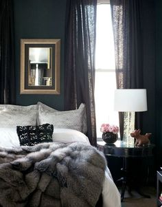 Dark walls, light linens & a faux fur throw make for an incredibly cozy bedroom. Dark walls, light linens & a faux fur throw make for an incredibly cozy bedroom. Bedroom Apartment, Home Bedroom, Apartment Therapy, Cozy Apartment, Bedroom Scene, White Apartment, Bedroom Furniture, Dark Furniture, Basement Furniture