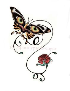 Tiger Butterfly with single rose