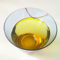 Kintsugi-repaired glass