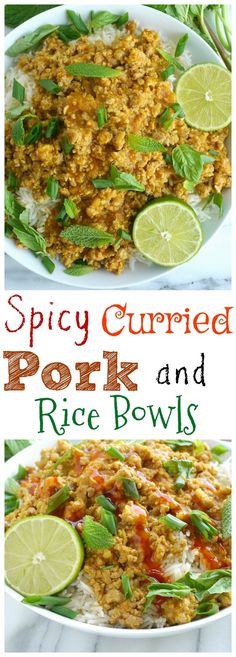 Spicy Curried Pork and Rice Bowls are a dinner you don't want to miss from NoblePig.com.