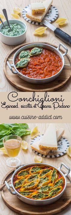 Conchiglioni farcis aux Epinards, Ricotta & Grana Padano