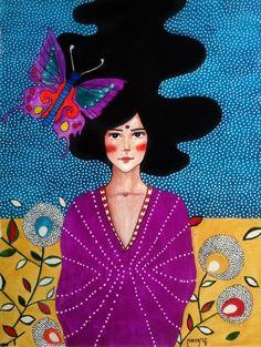 Hulya Ozdemir: Photo - Artist: Hülya Özdemir women in art, Butterfly, Purple, Woman painting - Art And Illustration, Illustrations, Art Pop, Arte Popular, Klimt, Portrait Art, Portraits, Female Art, Collage Art