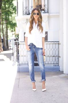 Trendy Spring Outfits That Will Enchant You White Heels Outfit, Heels Outfits, Jean Outfits, Casual Outfits, Outfit Jeans, Cute Summer Outfits, Spring Outfits, Jeans Boyfriend, Cocktail Attire
