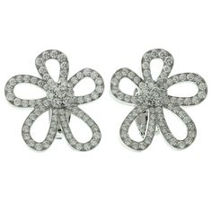 Van Cleef & Arpels Diamond Gold Small Flowerlace Earrings | From a unique collection of vintage lever-back earrings at https://www.1stdibs.com/jewelry/earrings/lever-back-earrings/