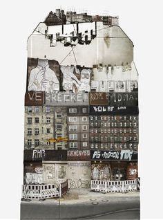 """Large scale architectural collages by Anastasia Savinova. Each collage is meant to reveal """"spirit"""" of a particular country or city. Berlin /anastasiasavinova.com"""
