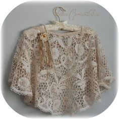 Bridal Shawl Capelet Shrug Wrap  Handmade from by auntcarriesattic, $155.00
