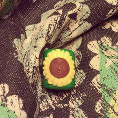 smiling sunflower dreadlock bead by nothin2fancy on Etsy, $4.00