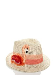 Kate Spade Take A Walk On The Wild Side Raffia Trilby Natural ONE