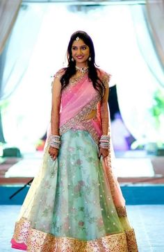 55 Bridal Lehenga designs that will inspire you - Wedandbeyond Half Saree Designs, Lehenga Designs, Saree Blouse Designs, Dress Designs, Half Saree Lehenga, Lehnga Dress, Bridal Silk Saree, Indian Bridal Lehenga, Silk Sarees