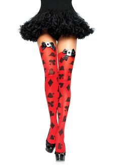 These opaque, bright red Card Print Thigh Highs from Leg Avenue feature an all-over poker suite print, black satin bows and Ace of Spades charms. Perfect for the Queen of Hearts costume or a sexy card costume! Knee High Stockings, Sexy Stockings, Brigitte Bardot, Blossom Costumes, Poker, Queen Of Hearts Costume, Pin Up, Harajuku, Over Knee Socks