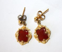 Vintage Earrings Carnelian Gold 1950s Jewelry by patwatty on Etsy, $6.00