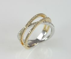 14k two-tone diamond criss-cross ring.