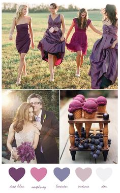 Ice-cream looks delish! different bridesmaid dresses in the same color scheme! Wedding color combination: romantic purple + raspberry wedding dress and flowers also beautiful Wedding Color Combinations, Wedding Color Schemes, Wedding Colors, Shades Of Purple, Deep Purple, Purple Colors, Maroon Colour, Purple Teal, Blue Yellow