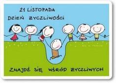 kartka_dzien_zyczliwosci Polish Language, Social Skills, Kids And Parenting, Diy And Crafts, Family Guy, Teacher, English, Humor, Education