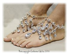 CRYSTAL Barefoot sandals foot jewelry wedding shoes bridal bridesmaid eveningwear beach wedding barefoot sandals Catherine Cole Studio SJ5
