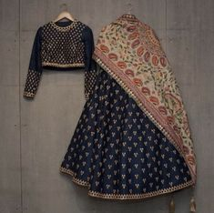 The Stylish And Elegant Lehenga Choli In Navy Blue Colour Looks Stunning And Gorgeous With Trendy And Fashionable Embroidery . The Dhupion Silk Fabric Party Wear Lehenga Choli Looks Extremely Attracti. Indian Attire, Indian Ethnic Wear, Indian Outfits, Indian Dresses, Indian Clothes, Indian Lehenga, Silk Lehenga, Bridal Lehenga, Silk Dupatta