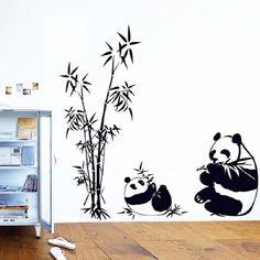 Znajdź więcej Wall Stickers informacji o Nowy Czarny duży rozmiar 45x45 cm Panda Bambus Ścienne Naklejki Salon pokój TV Sofa Home Wymienny Naklejki Ścienne Naklejki Ścienne Sztuki D35M15, wysokiej jakości bamboo wall stickers, Chiński panda bamboo dostawca, tanie wall sticker od Little Life House Store na Aliexpress.com