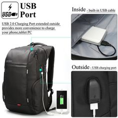16876c7799 KINGSONS Men Women 13 15 17 Inches Computer Bag Anti-theft Travel Backpack