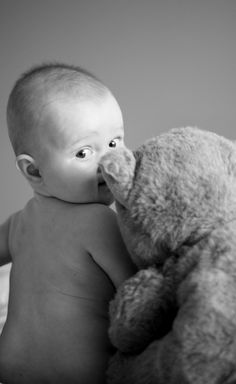6 month baby & teddy bear