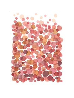 Abstract watercolor painting   Pink Bubbles   by LouiseArtStudio, $30.00