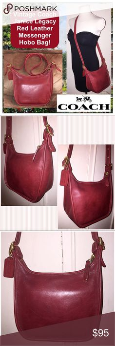 """Vintage Coach Janice Legacy Red Messenger Hobo Bag Vintage Coach Janice Legacy Red Leather Messenger Hobo Bag! 100% authentic, red leather adj shoulder (up to 24 1/2"""" clearance strap), brass buckles & hardware, int back wall slip pocket, top zip closure, unlined, Coach hang tag, creed & serial No. on inside. B6D-9950. Measurements: 9.5"""" tall (side), 7.5"""" tall (mid) x 9 1/2"""" across x 4.5"""" wide (bottom). Ret:$279. Cleaned & moisturized with Coach products. Some int pen marks & trim wear.  VG…"""
