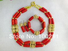 free shipping!! Amazing Red Coral Jewelry Set with gold Plated beads MN-451 $61.07