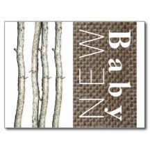 Birch Twigs And Burlap New Baby Announcement Postcard